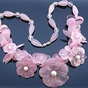 REDUCED Vintage pink lucite flower necklace