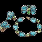 Schreiner aqua rhinestone butterfly brooch, earrings and bracelet set