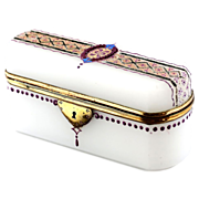 Antique French white opaline crystal glass trinket, jewelry or vanity Box, hinged lid