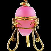 REDUCED Antique French Pink Opaline & Gilt Ormolu Egg Box, Perfume Bottle holder