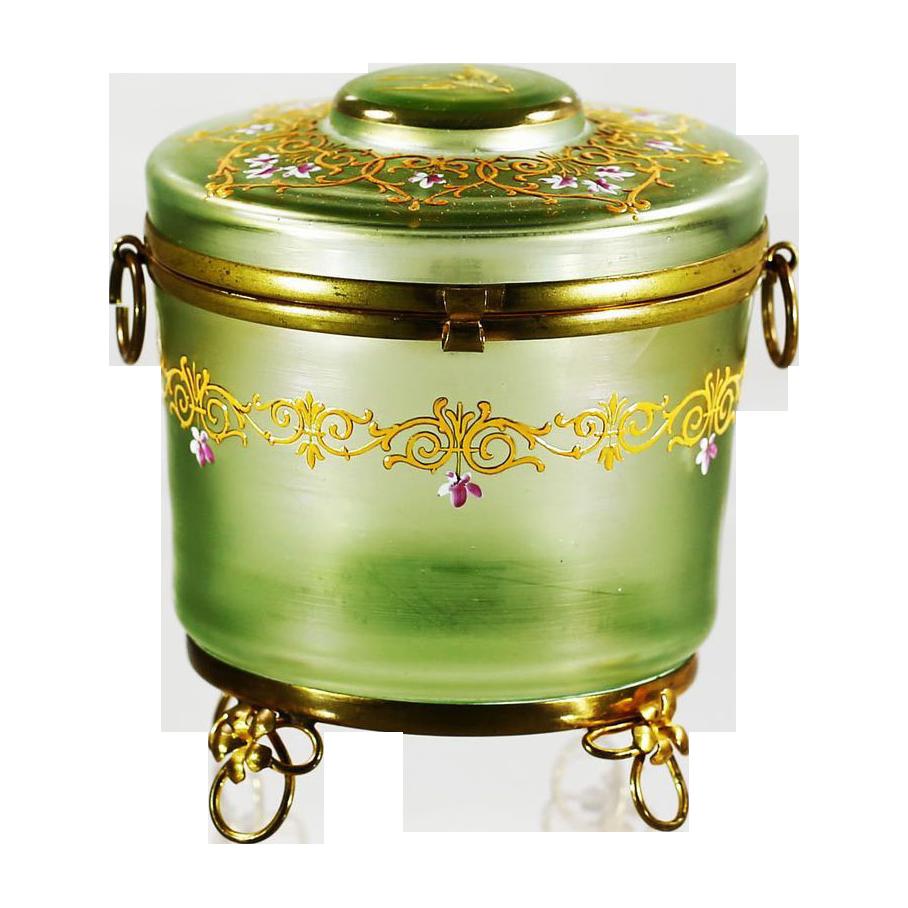 "5""H Antique Bohemian Moser hinged trinket Box, enameled art glass, ormolu mounts"