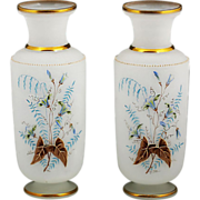 "Pair 10""h Antique French Opaline glass Vases, Enamel Flowers"