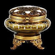 Antique, Victorian Amber enamelled art glass hinged trinket BOX or powder JAR