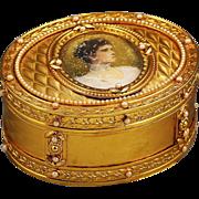Antique gilded Bronze Box with miniature portrait of Russian Czarina