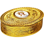 Antique gilded dore Bronze Box with hand painted, signed miniature portrait