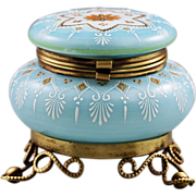Antique Victorian era Opaline enameled glass hinged Box