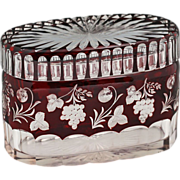 Antique Bohemian deep Ruby overlay cut to clear crystal oval Box Casket