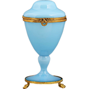French blue opaline glass trinket box on pedestal with hinged lid