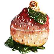 Antique French Vallerysthal opaline glass Strawberry Snail Box or Jar