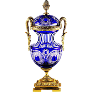 XL Antique French signed Martin Benito Royal blue crystal Urn, bronze dore mounts