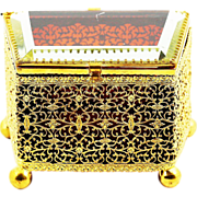 Antique Bohemian ruby amber crystal glass & ormolu filigree Trinket Box with hinged lid