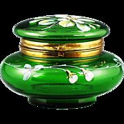 Antique Victorian Green enamelled art glass hinged trinket Box