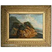 Antique oil on board painting unsigned English landscape & figures
