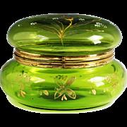 X large Antique Victorian era Green enameled glass hinged trinket BOX