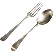 Antique England sterling silver dinner spoon and fork London Birmingham