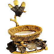 Antique French Gilded Bronze Figurine Bird above Nest , Mother of Pearl in ormolu