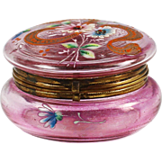 Antique enameled on pink art glass trinket Box with hinged lid