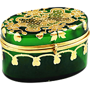 Bohemian Moser green enameled art glass trinket Box, hinged casket