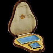 Antique 925 sterling silver blue guilloche enamel Cigarette holder & Vesta case
