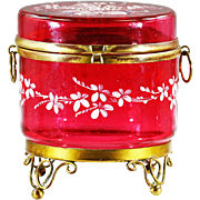 Antique cranberry enamelled glass hinged trinket BOX