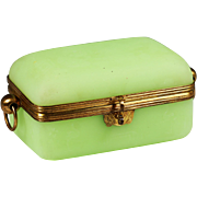 Large Antique French green opaline glass jewelry Casket hinged box