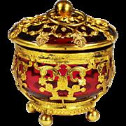 Antique French Palais Royal Box cranberry glass in gilt ormolu mounts