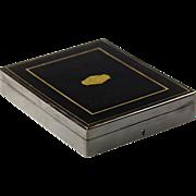 Antique French ebonized wood keepsake hinged Box or Casket with brass inlay