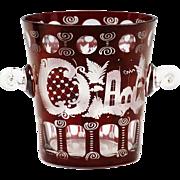 Vintage Czech Republic Bohemian Egermann wine red cut crystal Ice Bucket