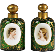 Pair of antique Bohemian Moser green art glass Perfume Bottles hand painted miniature