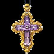 Art Nouveau cross pendant amethyst diamond 22 K yellow gold