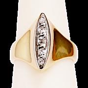 Vintage diamond marquise/navette shape 18k yellow gold ring