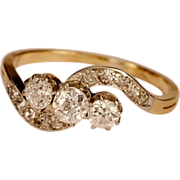 Antique Victorian/Art Nouveau 0.65 tcw diamond three stones 18 k gold engagement ring ...