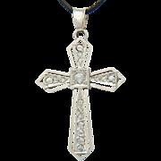 REDUCED Art Deco diamond 18 k white gold cross