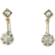 Antique Victorian diamond silver over 18K gold pendant earrings