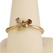 Antique Art Nouveau diamond and ruby ring