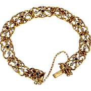 Antique Art Nouveau bracelet 18 k yellow gold platinum diamond emerald and ruby