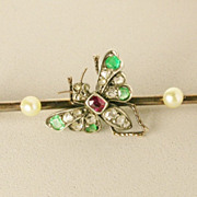 REDUCED Antique Victorian Butterfly diamond emerald ruby bar-pin/ brooch