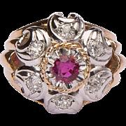 Impressive Retro Ruby and Diamonds French cocktail ring circa 1940 s 18 k gold