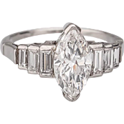 Engagement Diamond ring Art Deco 1.58 CT t.w. marquise-cut diamond platinum  E ...