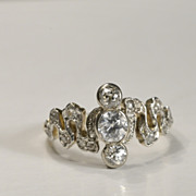 Antique Victorian/Art Nouveau three stones diamond 0.74 cwt engagement ring