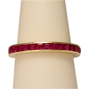 REDUCED Estate synthetic rubies yellow gold eternity band US RING SIZE 7