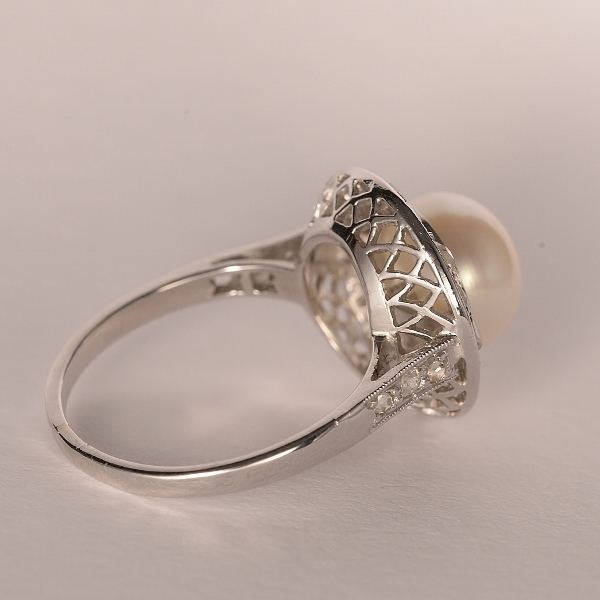 Diamond And Pearl Engagement Rings: Art Deco Diamond And Pearl Engagement Ring From