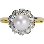 Antique Victorian 0.85 cwt diamond and pearl platinum and 18 k yellow gold engagement ...