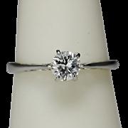 Vintage 0.35 carat diamond Cathedral design solitaire ring platinum & 18 k white gold ...