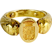 Antique Art Nouveau French unusal man`s signet ring 18 k yellow gold 18.1 gram ...