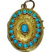 Antique Victorian French Turquoise locket 18 k yellow gold  circa 1880