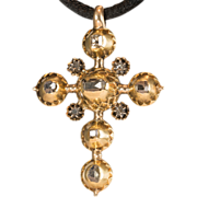 Antique Georgian table-cut diamonds 14 k gold cross