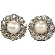 Antique Victorian 1.40 cwt diamond and pearl cluster earrings
