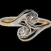 Antique Art Nouveau cross-over diamond engagement ring/ anniversary ring