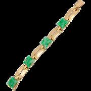 Jade / Jadeite bracelet Certified Natural Untreated Jadeite Jade 18 k Yellow gold Art Deco  ..